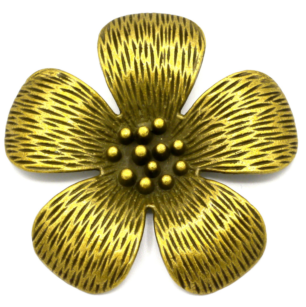 52mm Flower Pendant, Antique Brass Finish