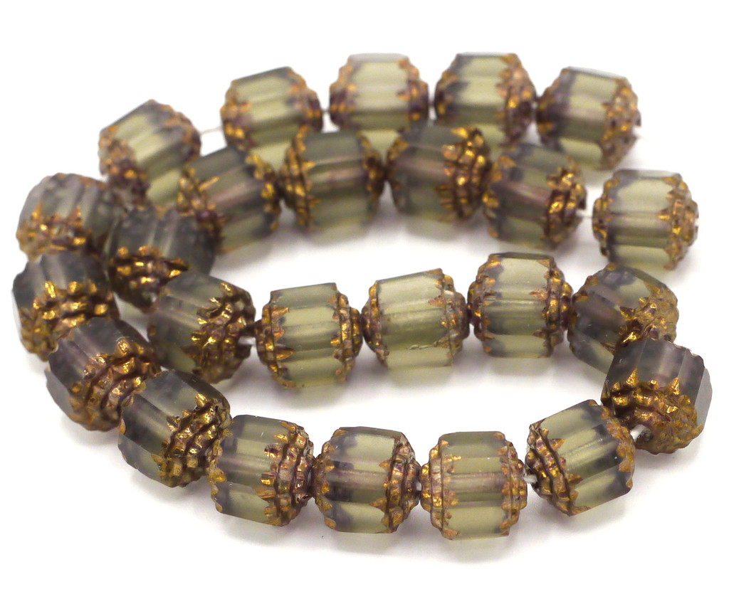25pc 8mm Faceted Czech Cathedral Glass Beads, Matte Gray & Gold