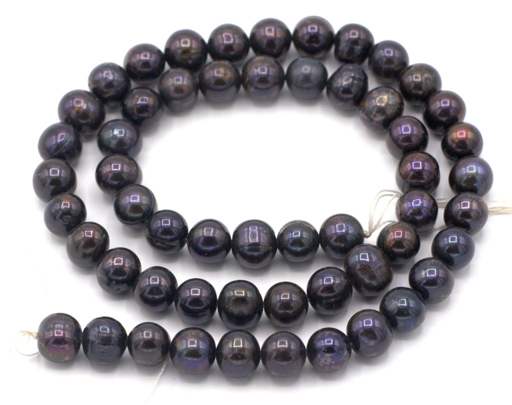 "SAVE 80%-- 15"" Strand Approx 8mm Freshwater Pearl Semi-Round Beads, Dark Peacock"