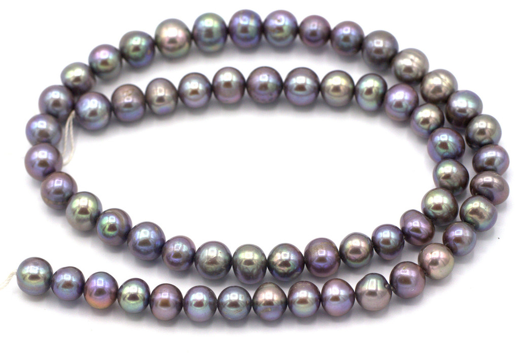 """SAVE 80%-- 15"""" Strand Approx 7-8mm Freshwater Pearl Semi-Round Beads, Light Peacock"""
