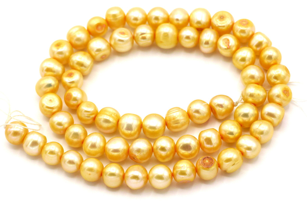 "SAVE 80%-- 15"" Strand Approx 8mm Freshwater Pearl Irregular Semi-Round Beads, Golden Peach"