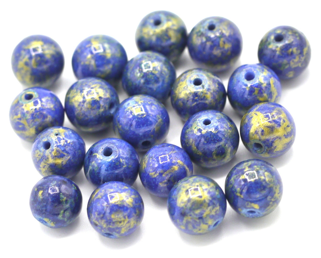 20pc 8mm Mountain Jade Beads, Lapis Blue & Gold