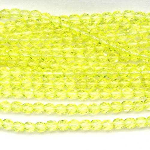 50pc 6mm Czech Fire Polished Round Beads, Jonquil Yellow