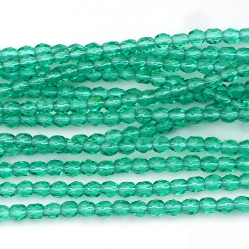 100pc 4mm Czech Fire Polished Round Beads, Light Emerald
