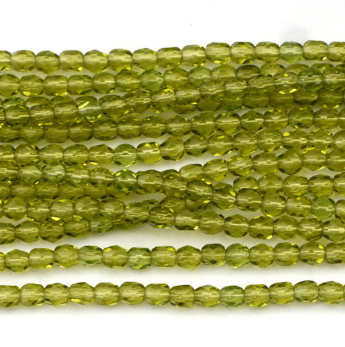 100pc 4mm Czech Fire Polished Round Beads, Light Olive