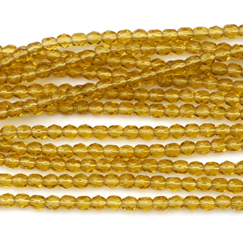 100pc 4mm Czech Fire Polished Round Beads, Medium Topaz