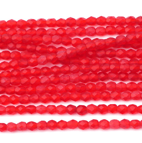 100pc 4mm Czech Fire Polished Round Beads, Matte Ruby
