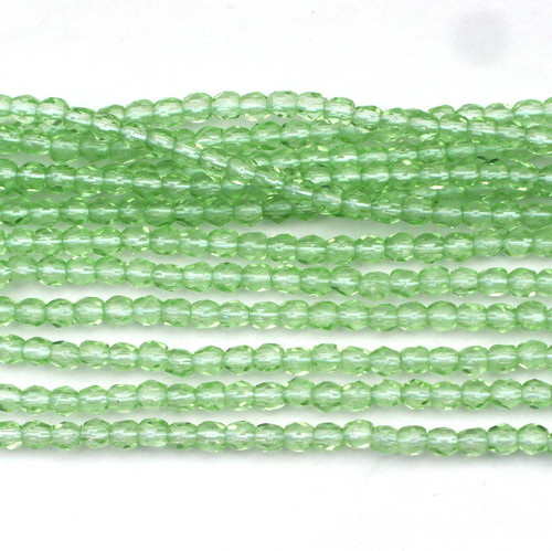 100pc 3mm Czech Fire Polished Round Beads, Light Green