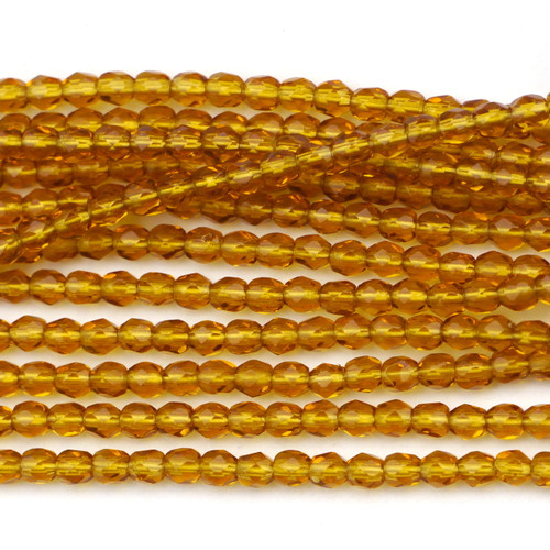 100pc 3mm Czech Fire Polished Round Beads, Topaz