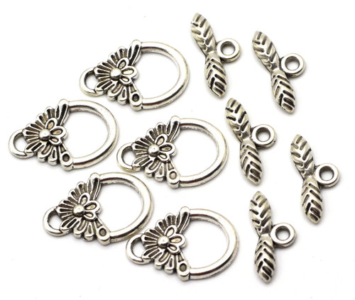 5 Sets 16x18mm Feathered Toggle Clasp, Antique Silver
