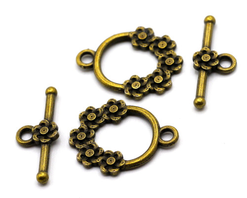 2 Sets 20mm Flower-Detailed Toggle Clasps, Antique Brass Finish