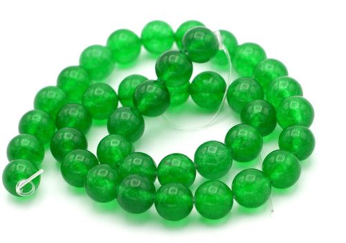 "15"" Strand 10mm Malaysian Jade Beads, Emerald Green"