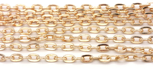 5 Feet of 7x5mm Cable Jewelry Chain, Rose Gold Finish