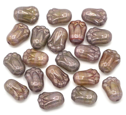 20pc 8x12mm Czech Glass Tulip Beads, Picasso Amethyst