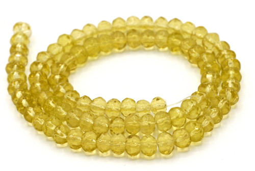 "11"" Strand 6x4mm Faceted Glass Rondelle Beads, Light Topaz"