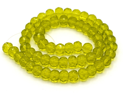 "11"" Strand 8x6mm Faceted Glass Rondelle Beads, Light Olive"
