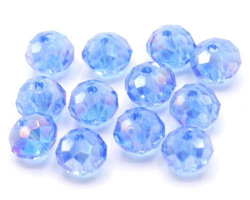 12pc 8x6mm Crystal Rondelle Beads, Light Sapphire AB