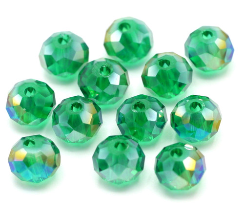 12pc 8x6mm Crystal Rondelle Beads, Teal AB