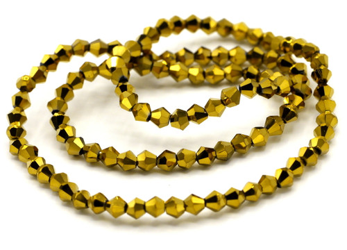 100+pc 4mm Crystal Bicone Beads, Metallic Gold