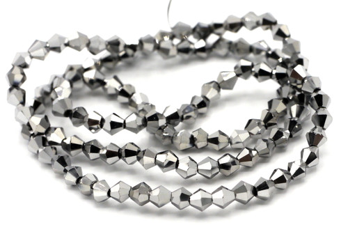 100+pc 4mm Crystal Bicone Beads, Metallic Silver