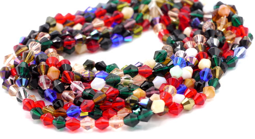 40pc 8mm Czech Fire Polished Bicone Bead, Holiday Hearth Mix