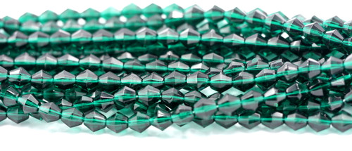 25pc 7mm Czech Fire Polished Glass Bicone Bead, Deep Emerald