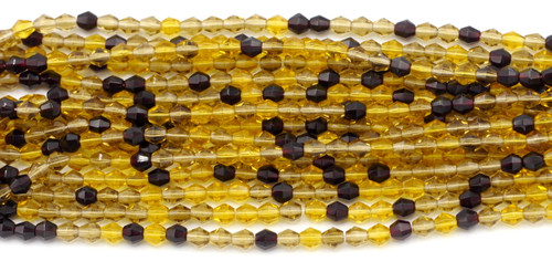 75pc 5mm Czech Fire Polished Glass Bicone Bead, Harvest Mix