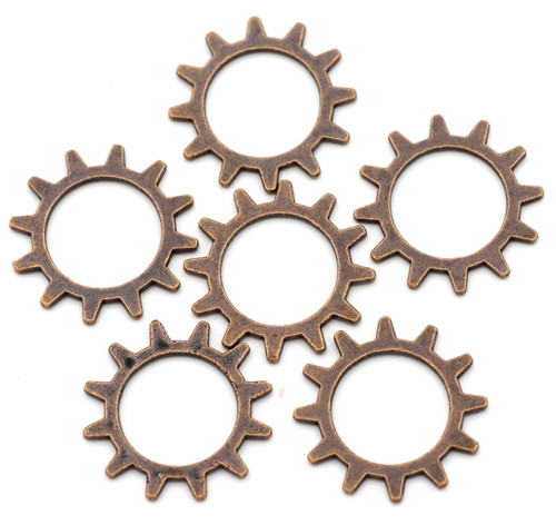 6pc 20mm Gear Findings, Antique Copper