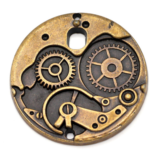 38mm Steampunk-Style Round Gear Pendant, Antique Copper Finish