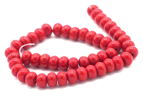 "10"" Strand 8x6mm Opaque Glass Rondelle Beads, Cherry Red"