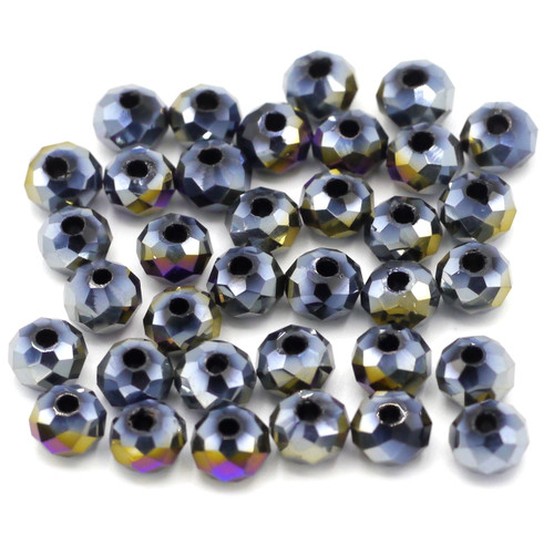 36pc 6x4mm Crystal Rondelle Beads, Dark Indigo AB