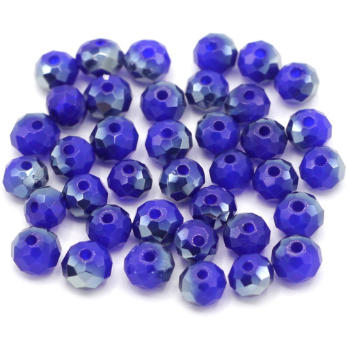 36pc 6x4mm Crystal Rondelle Beads, Semi-Opaque Sapphire & Silver