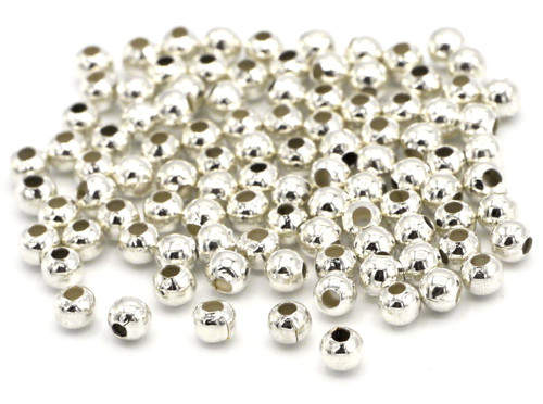 100pc 3mm Round Metal Spacer Beads, Silvertone