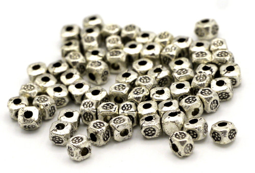 10 Grams 3.5mm Tribal-Style Cube Spacer Beads (Approx 60pcs
