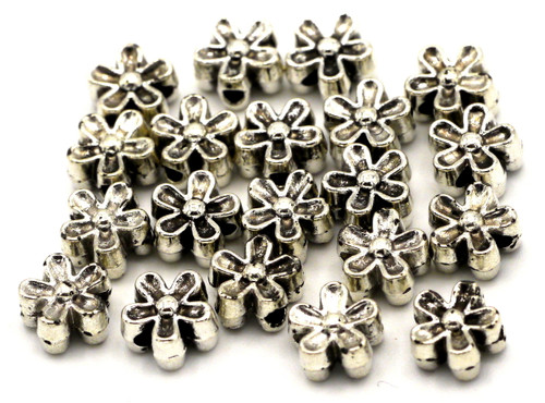 20pc 7mm Flower Spacer Beads, Antique Silvertone