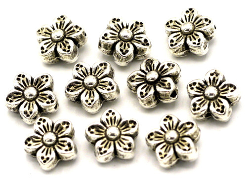 10pc 9mm Flower Spacer Beads, Antique Silvertone