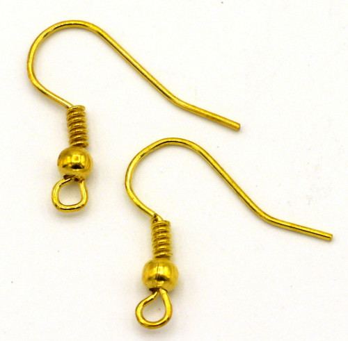 50pc 20x17mm Nickel-free Fishhook Earwires, Gold Finish