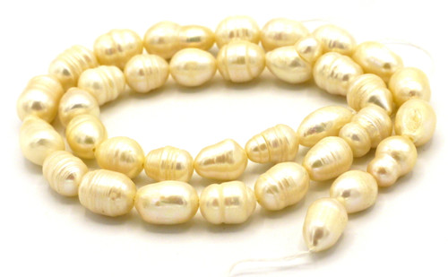 """15"""" Strand 9-12mm Freshwater Pearl Rice Beads, Ivory"""