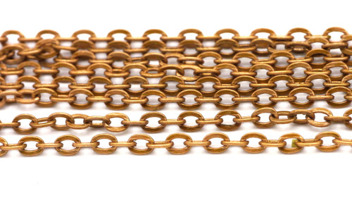 1 meter (3.2 feet) 4x2.7mm Steel Jewelry Chain, Copper Finish