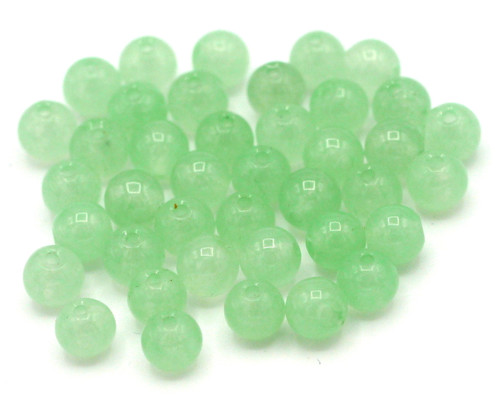 40pc 4mm Dyed Quartz Round Beads, Pale Green