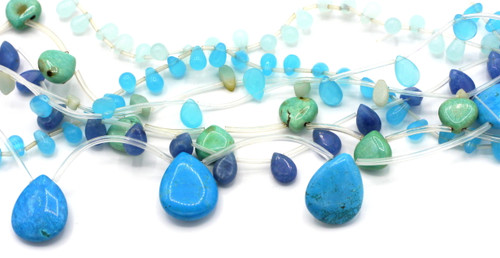 "GRAB BAG SPECIAL-- 15"" Strand Gemstone or Glass Beads, Blue"