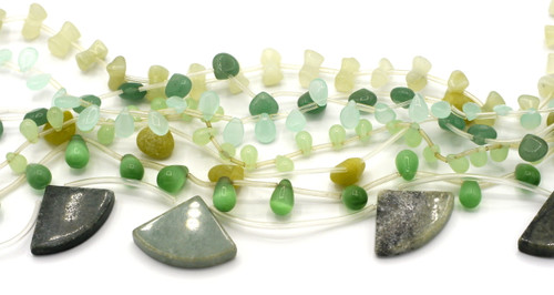 "GRAB BAG SPECIAL-- 15"" Strand Gemstone or Glass Beads, Green"