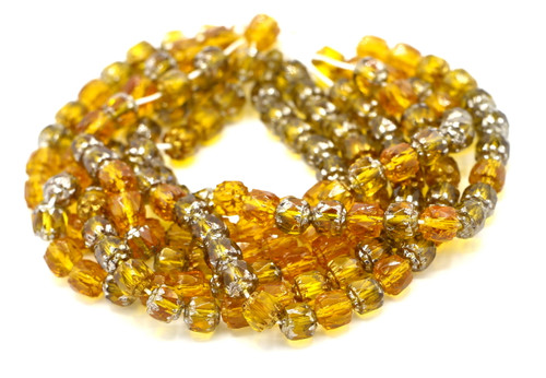 25pc 6mm Faceted Czech Cathedral Glass Beads, Topaz Mix