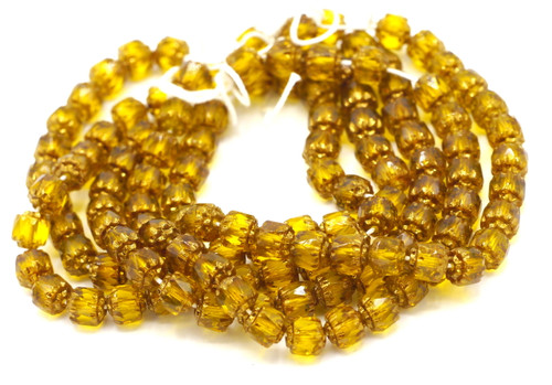 25pc 6mm Faceted Czech Cathedral Glass Beads, Topaz & Gold