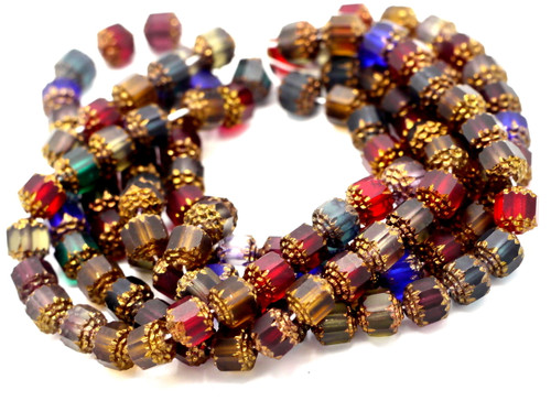25pc 8mm Faceted Czech Cathedral Glass Beads, Jewel Tone Mix