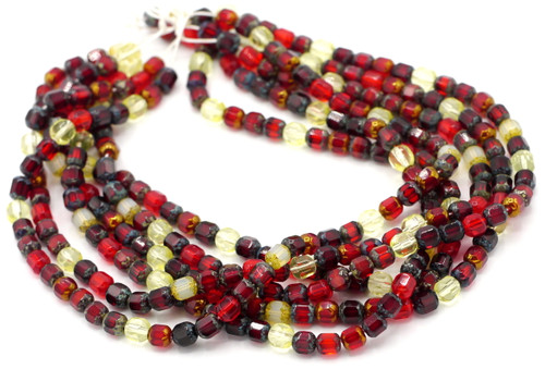 50pc 6mm Faceted Czech Dipped Tube Glass Beads, Romantic Mix