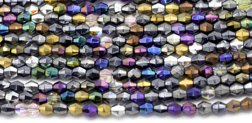 75pc 5mm Czech Glass Faceted Diamond Fancy Finishes Mix