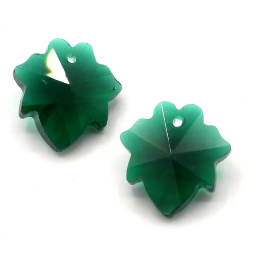 2pc 16mm Cut Glass Crystal Leaf Pendants, Emerald