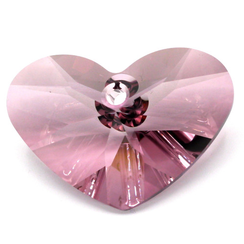 37x27mm Swarovski Crystal 6260 Crazy 4 U Heart Pendant, Antique Pink
