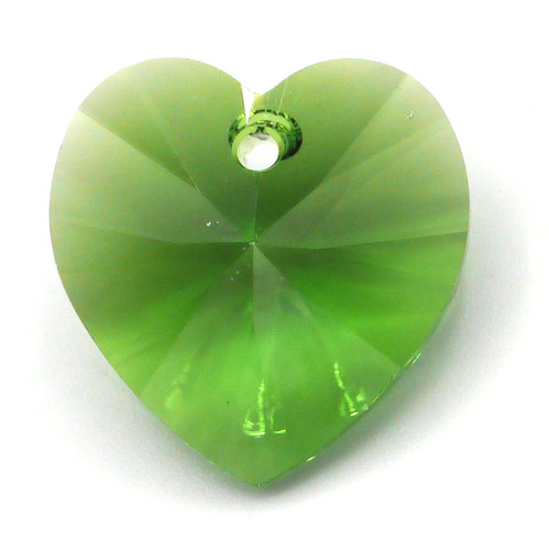 18mm Swarovski Crystal 6228 Xilion Heart Pendant, Fern Green